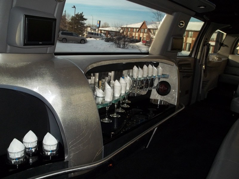 Bar in back of limousine