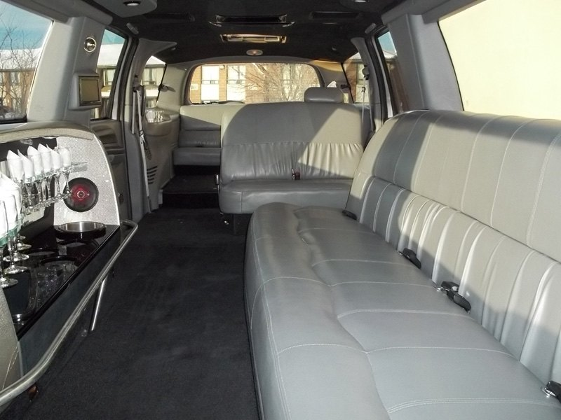 Bar and seats in back of limo