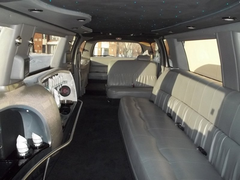 Seating and view of back of limousine