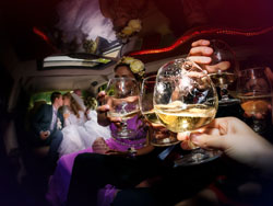 wedding party in limo